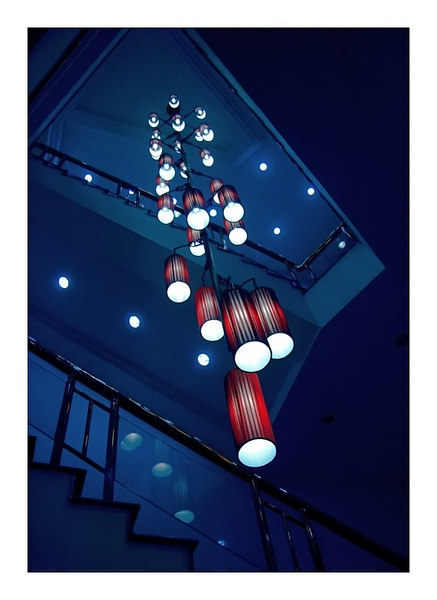 red vs. blue - hotel stairway, shanghai - china