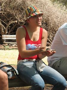 Sonja holding a baby python
