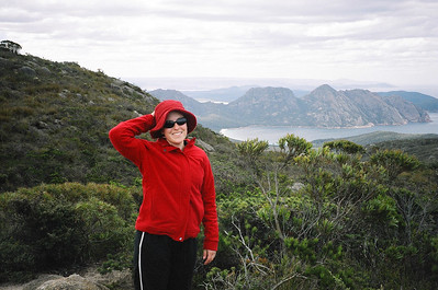 ...but she was happy when we reached the top! You can see Freycinet's famous Wineglass Bay in the distance.
