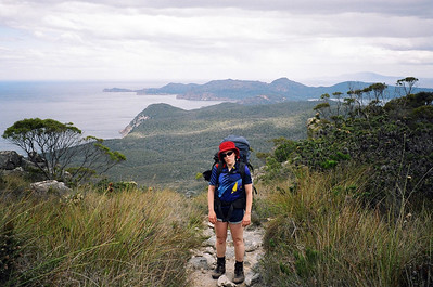 Steph was not very happy about climbing this hill in Freycinet...