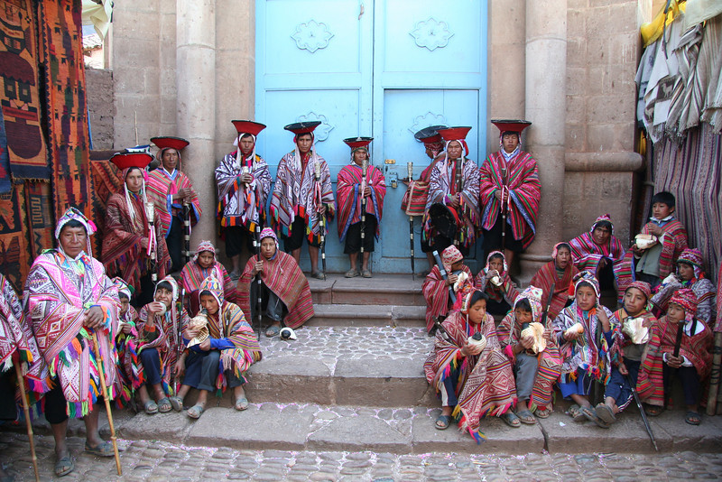 Pisac churchgoers pose for photos<br /> (and tips of course)