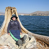Angela on the Uros boat
