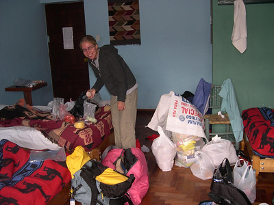 Kjirsten starts to organize and pack food and cooking gear.: We are sure glad she is with us for this adventure.