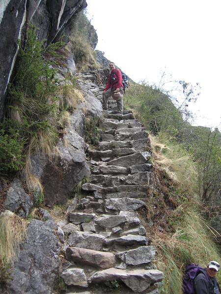 Steep steps up to Sayacmarca