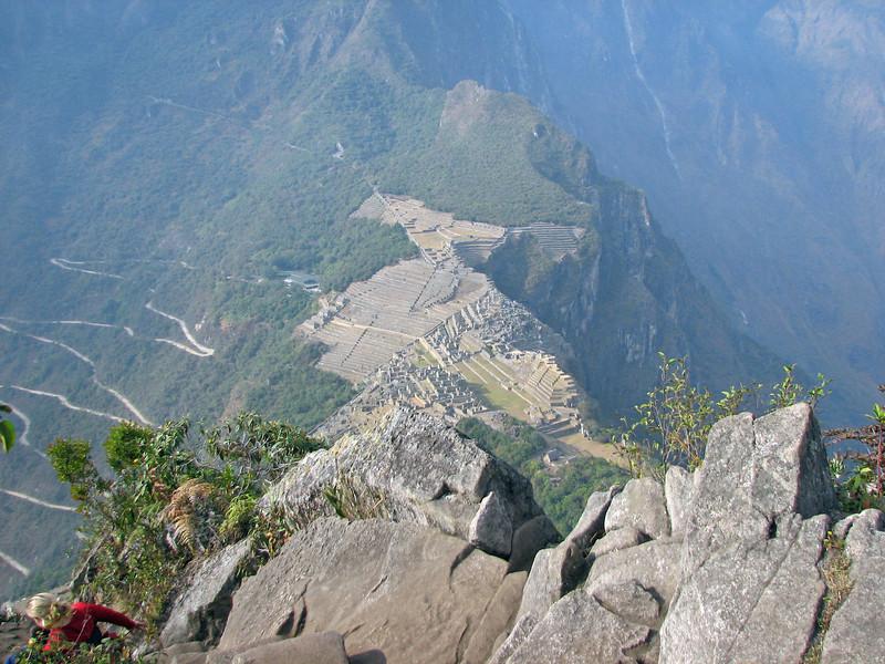 Looking straight down at Machu Picchu