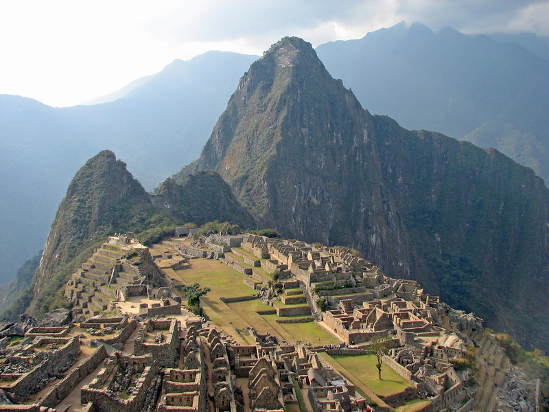 Late afternoon view of Machu Picchu, note Wayna Picchu in back