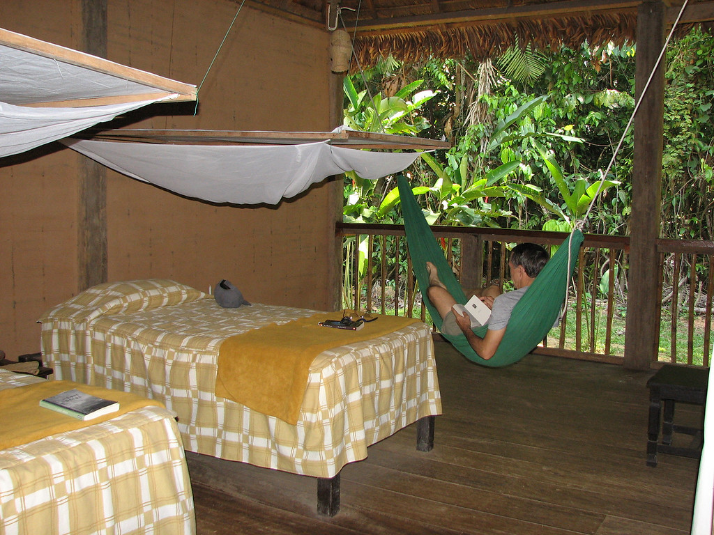 The rooms are open to the jungle with sleeping nets at night