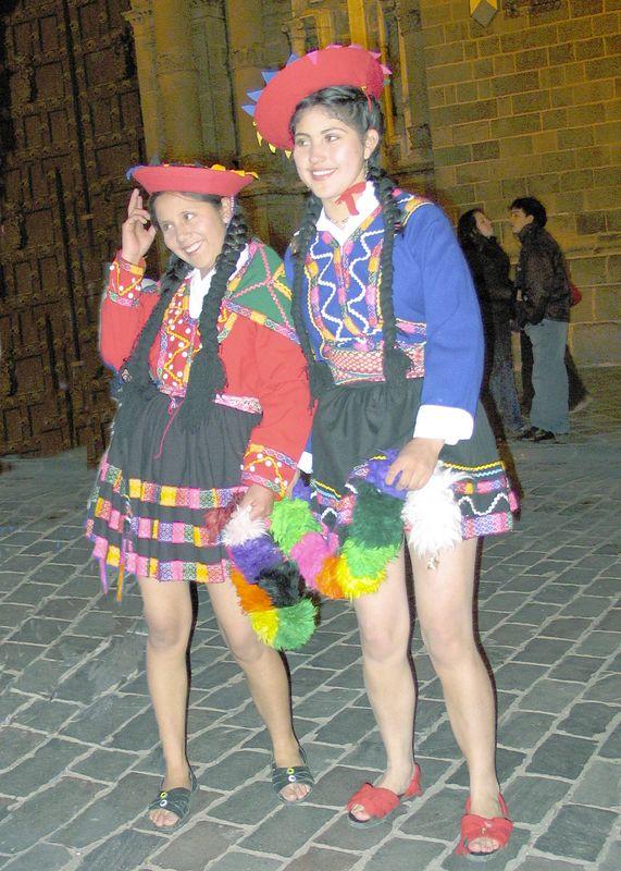 Happy Cuzco Peru  High School dancers at parade