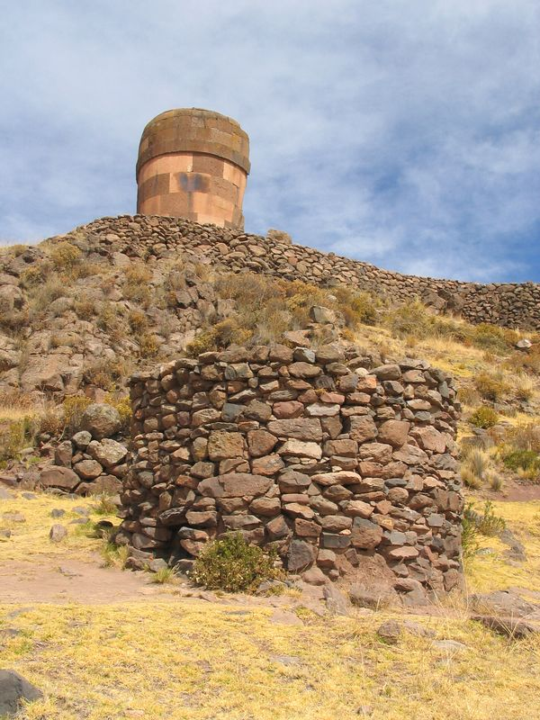Chullpas (ceremonial burial sites) of the Colla (B)  and Inca (T) at Sillustani, Peru