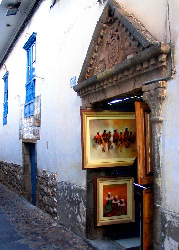Street of artwork, Cuzco, Peru