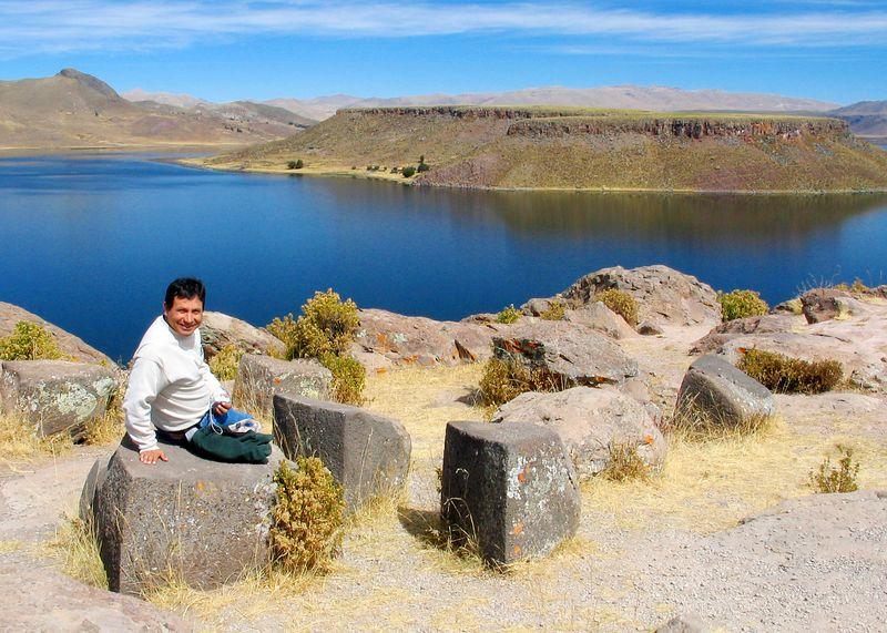 Juan resting at the ruins overlooking Lake Umayo, Peru