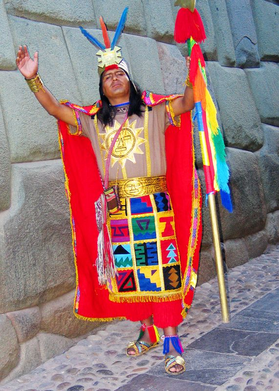 Cuzco street performer as Inca chief