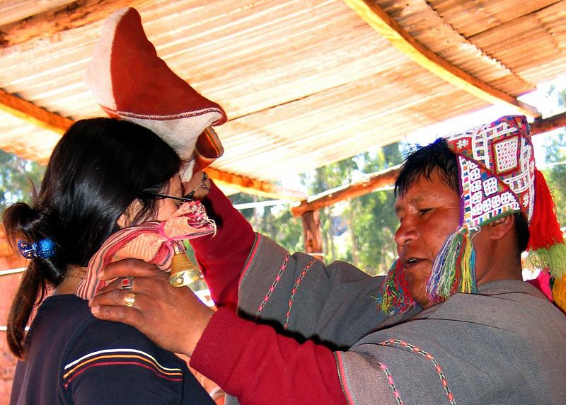 Shaman blessing woman