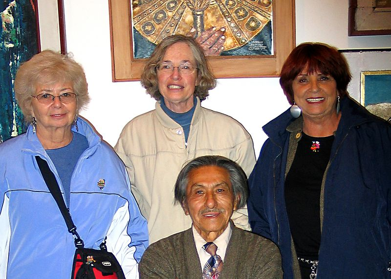Two Sandys and Mary with the renowned painter Amilcar Salomon Zorrilla in his  Cuzco, Peru shop