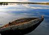 Old reed boat on Lake Titicaca, Peru