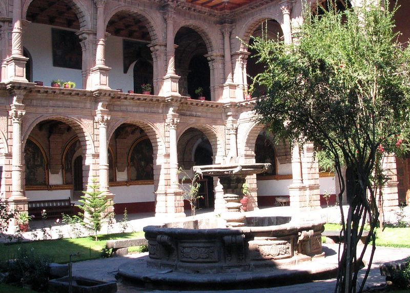 The courtyard of the Convent Merced, Cuzco, Peru