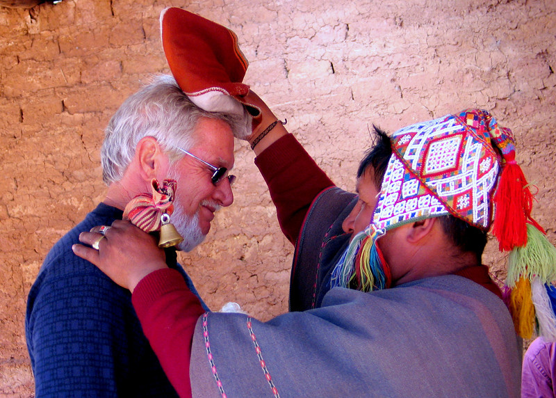 Shaman blessing Hugh at healing ceremony.