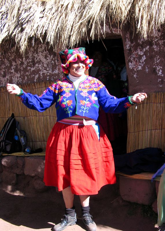 Sandy in native clothes, Copamaya, above Lake Titicaca at 13,000 feet elevation
