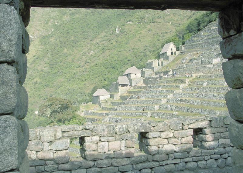 Building and terraces of Machu Pichu, Peru