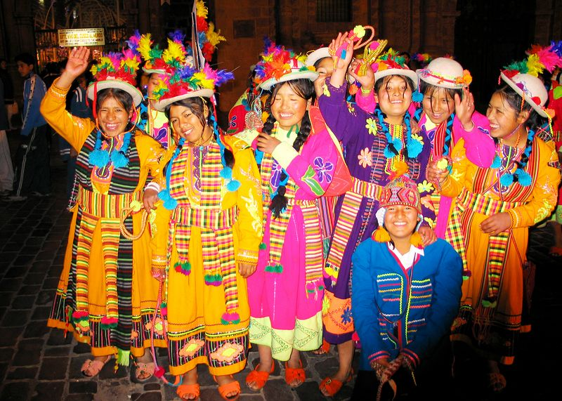 A Cuzco  High School dance group during a parade/competition