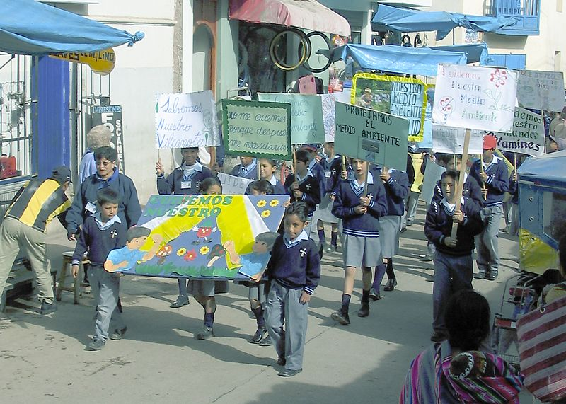 Children in parade to protect the environment, Pisac, Peru