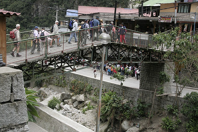 A view of all the recently arrived tourists from the trains as they head for the busses to Machu Picchu.