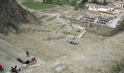 Looking down the terraces of Ollantaytambo Ruins toward the town.