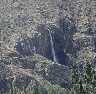 Waterfall along the Sacred Valley tour route
