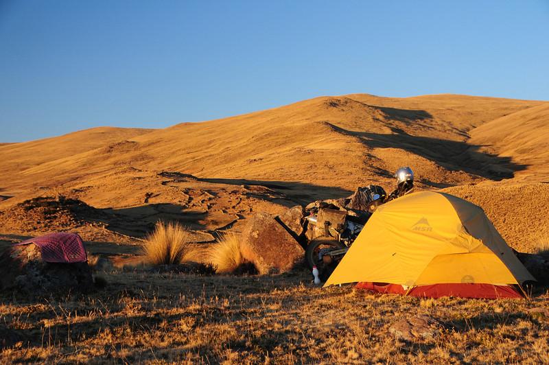 Bush camping along the Santo Tomas - Veille Road, Peru at 4187m