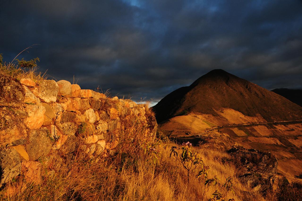 Sunrise at Sondor ruins nr Lago de Pacucha,  nr Andahuaylas. Peru