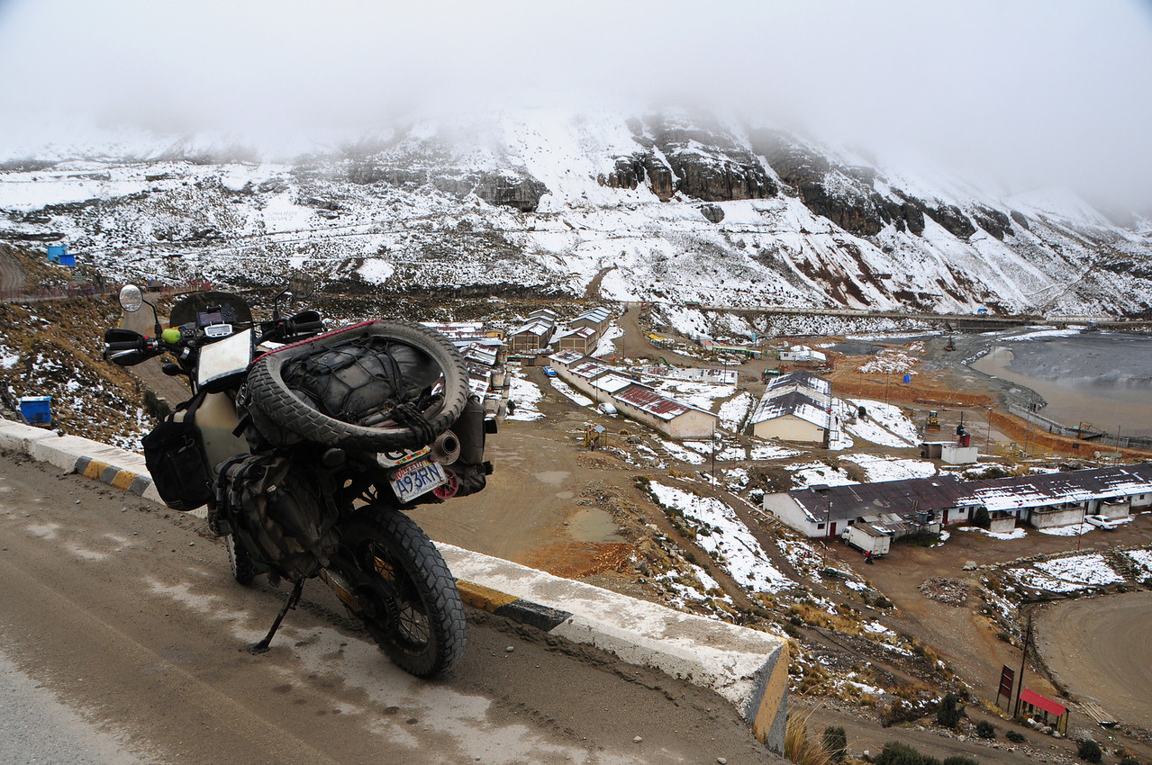 Snow on the pass at 4832m. La Oroya - Lima Road.Peru