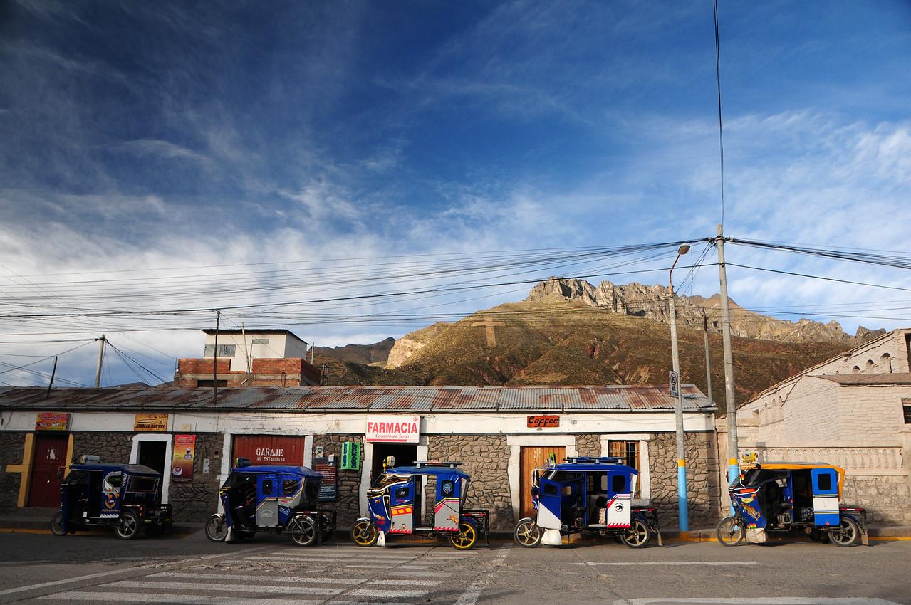 Moto-Taxi trikes in Chivay, Peru