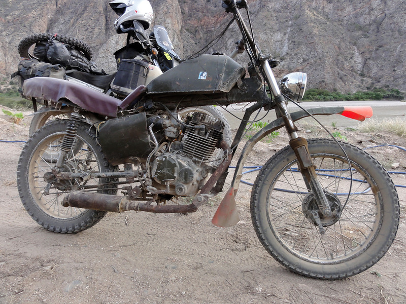 Home made motorbike on the Chachapoyas - Celedin Road. Peru.