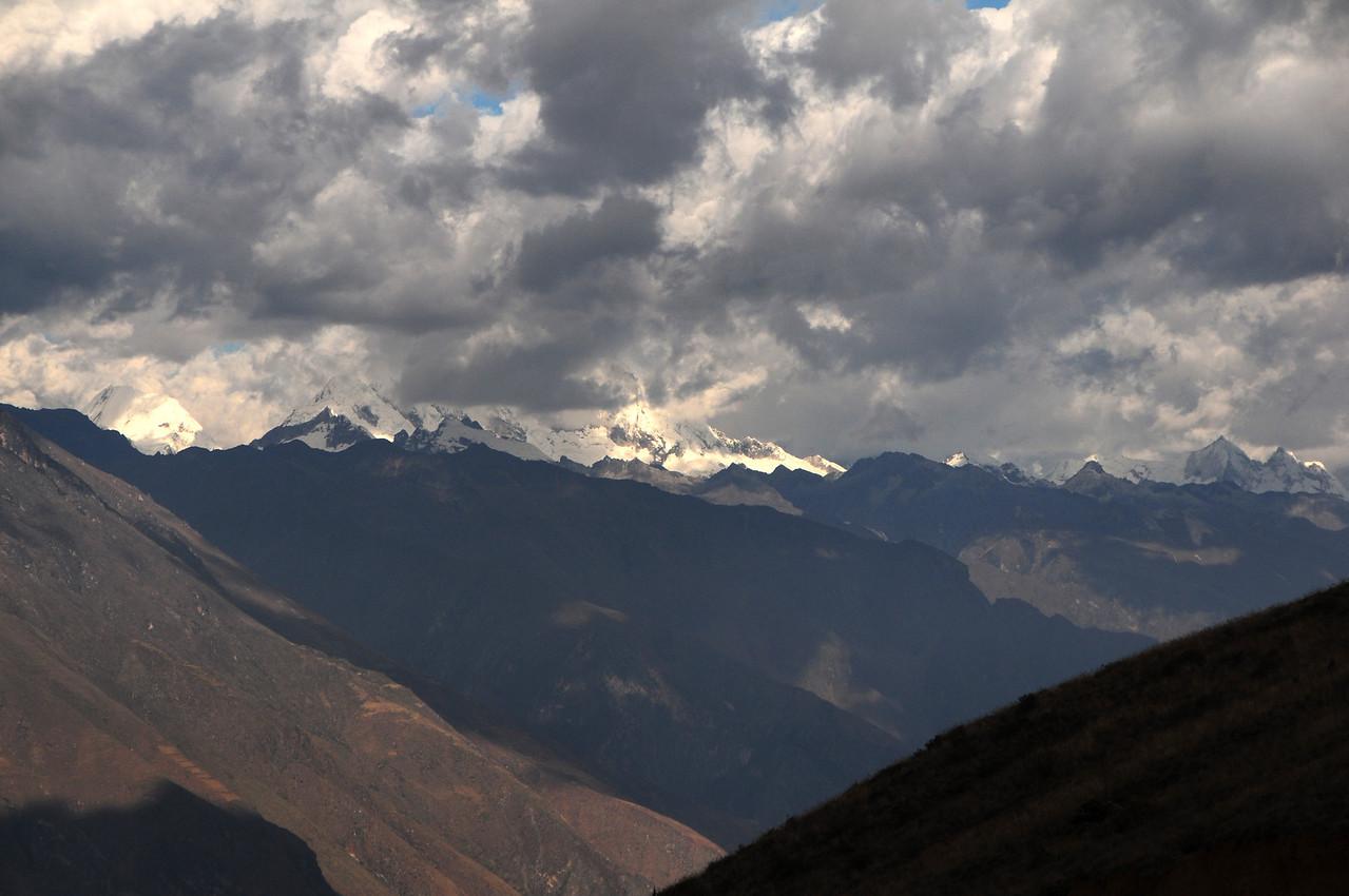 View across Yupan to the Cordillera Blanca.  Ancos - La Pampa road. Peru