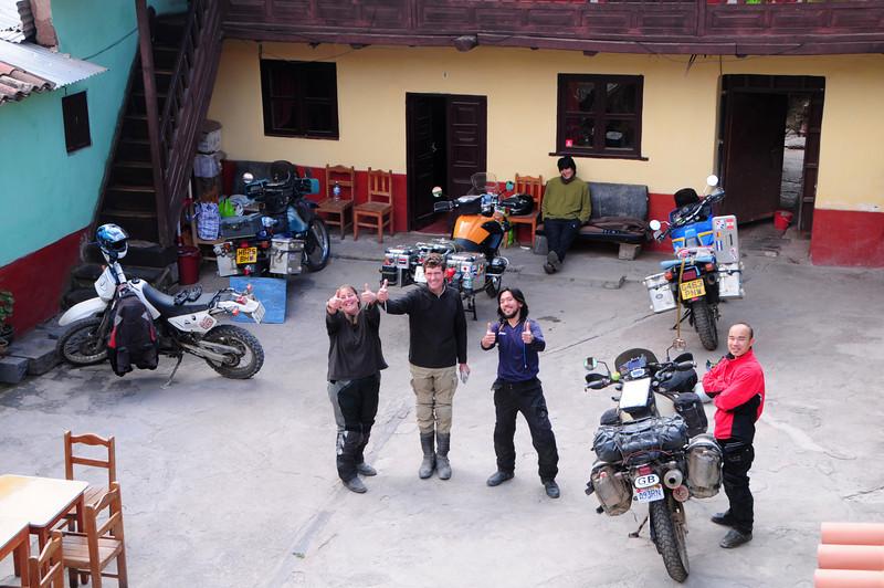 Claire,  Mark,  Yoshi (Saburo) & Yoshi. Hostel Estrellita. Cusco, Peru