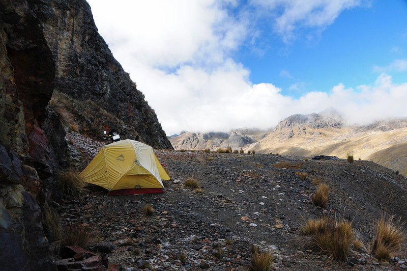 Bush camping east of Lircay, Peru at 4448m