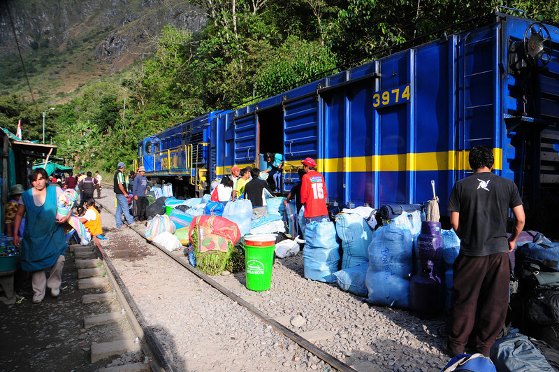 "Loading the train to Aguas Calientes (Machu Picchu) at ""Hidroelectrica'. nr Santa Teresa, Peru"