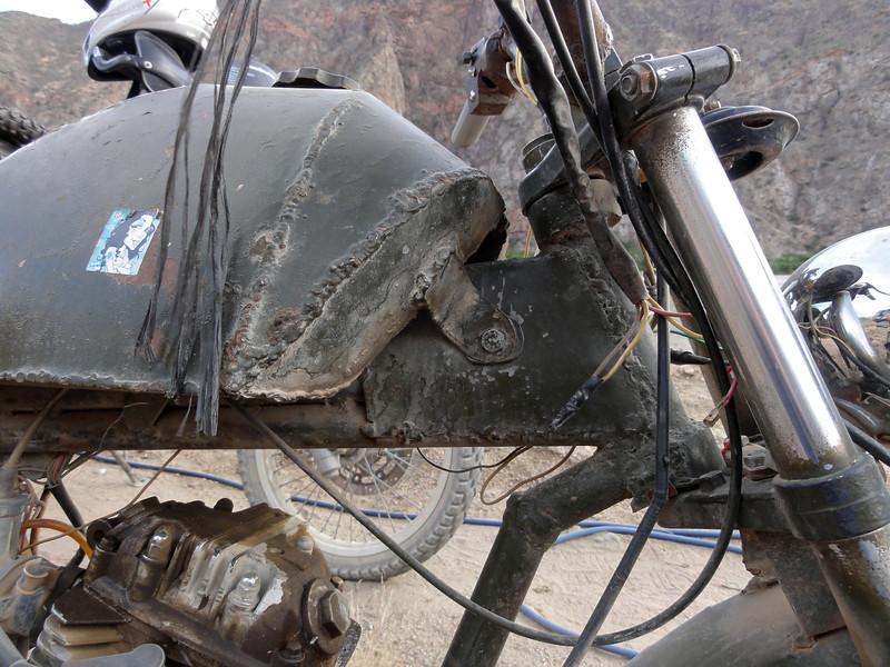 Home made motorbike on the Chachapoyas - Celedin Road. Peru.