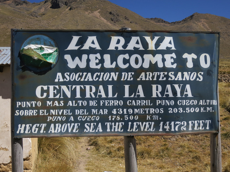 La Raya - the highest point of the train trip, 14 thousand feet! It was a bit…wheezy up there.