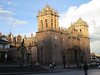 The main cathedral of Cuzco in the setting sun.