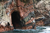 Amazing geologic stratification in the rocks - the black is volcanic basalt.