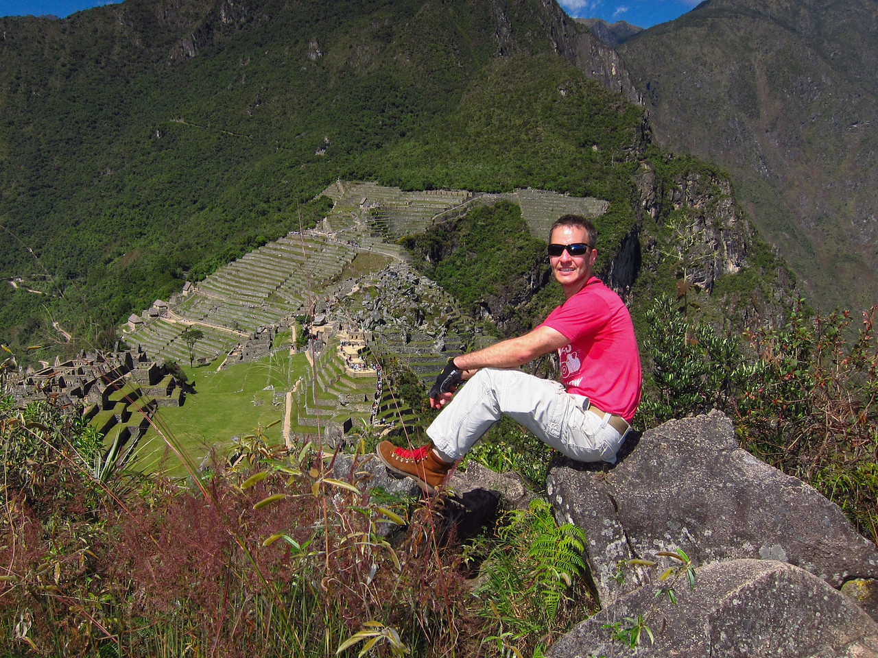 Machu Picchu viewed from the top of Huchuy Picchu