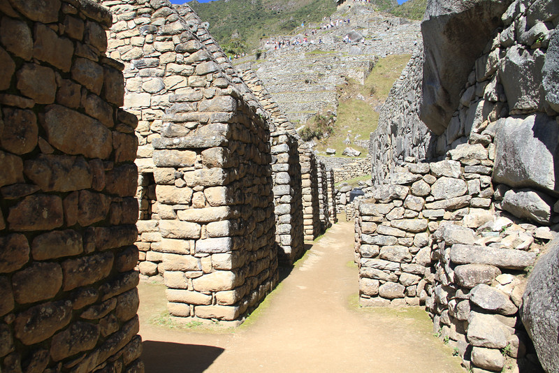 A shot down one of the corridors - the buildings on the left would have had thatched roofs on them during the Incan times.