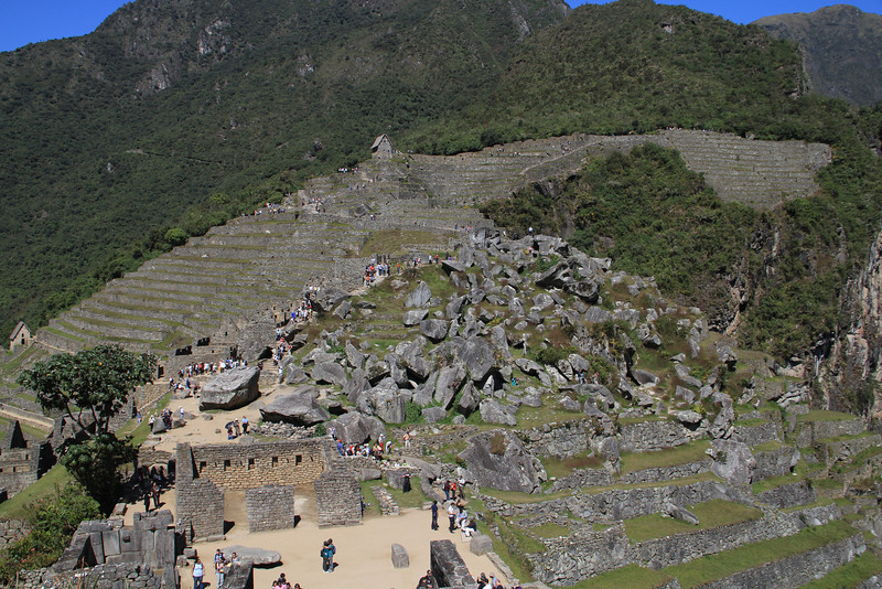 Looking back at Machu Picchu from the other side - the rough untouched looking area was the quarry, and the main remaining land on which they could have built.