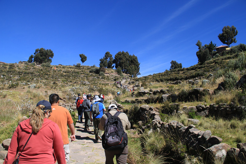 Look! Stairs!!! And now we're at an even higher elevation - over 12,000 feet! (This is the path from the dock to the main town in Taquile)