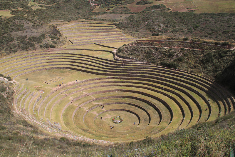 "A look down into ""Moray"", what is believed to be an Incan agriculture test site - there can be huge differences in temps between the top & bottom. And of course there were lots of stairs to climb to get to the bottom."
