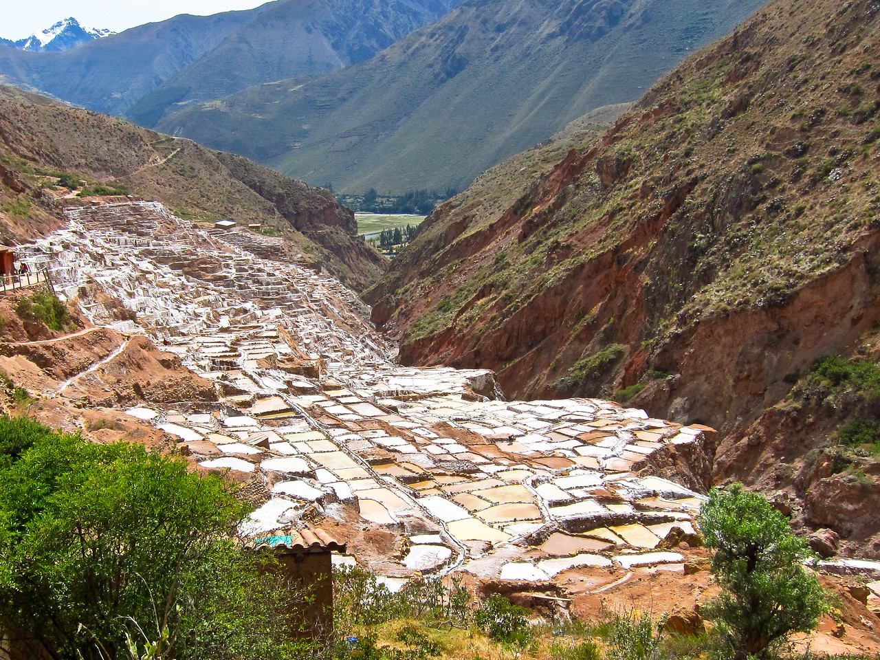 """Since pre-Inca times, salt has been obtained in Maras by evaporating salty water from a local subterranean stream. The highly salty water emerges at a spring, a natural outlet of the underground stream. The flow is directed into an intricate system of tiny channels constructed so that the water runs gradually down onto the several hundred ancient terraced ponds. Almost all the ponds are less than four meters square in area, and none exceeds thirty centimeters in depth. All are necessarily shaped into polygons with the flow of water carefully controlled and monitored by the """"farmers"""""""