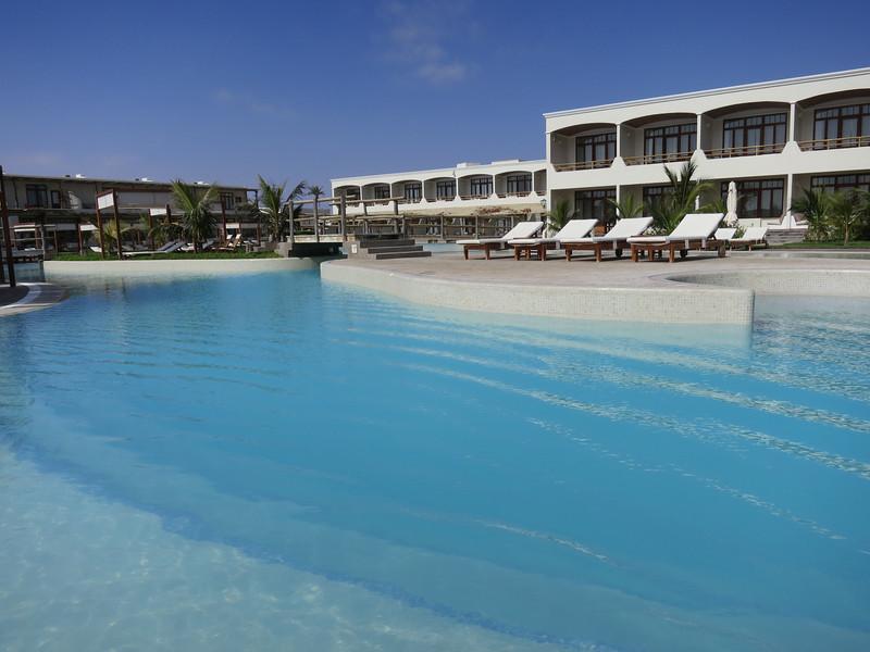 """The pool at our hotel in Paracas - verrry nice hotel, """"La Hacienda Bahía Paracas""""."""