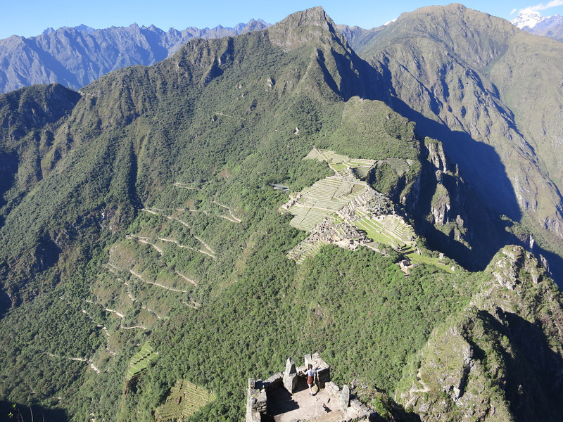 A good view of Machu Picchu, the Hiram Bingham Highway (that the buses take up to Machu Picchu), the actual peak of Machu PIcchu, on the close ridge on the upper left is the sun gate entrance to Machu Picchu on the Inca Trail, and off in the distance (upper right) the snowy peak of Salcantay