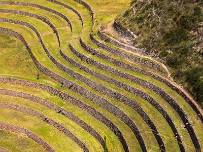Moray is an archaeological site in Peru. The purpose of these depressions is uncertain, but their depth and orientation with respect to wind and sun creates a temperature difference of as much as 15 °C (27 °F) between the top and bottom. This large temperature difference was possibly used by the Inca to study the effects of different climatic conditions on crops. In other words, Moray was perhaps an Inca agricultural experiment station. As with many other Inca sites, it also has a sophisticated irrigation system.